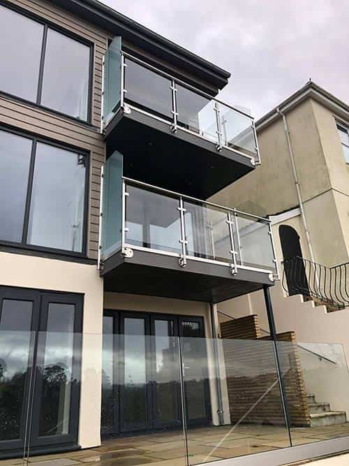 glass balconies on a building block
