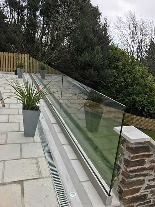 glass balustrades on a patio