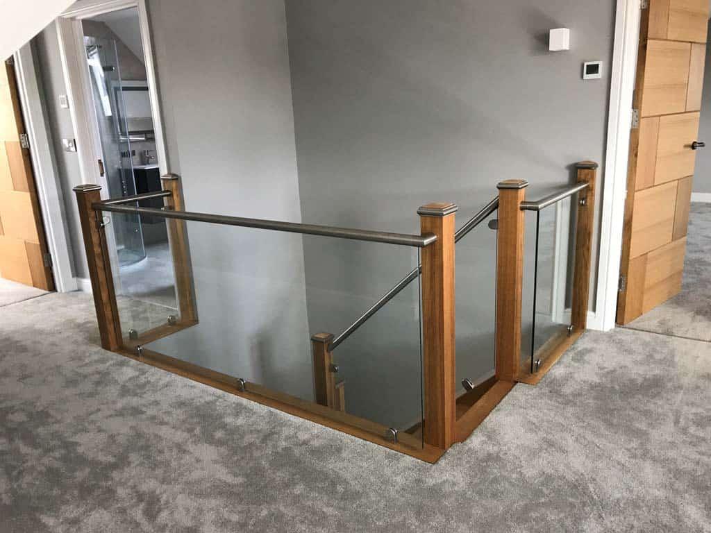 glass balustrades overlooking stairwell