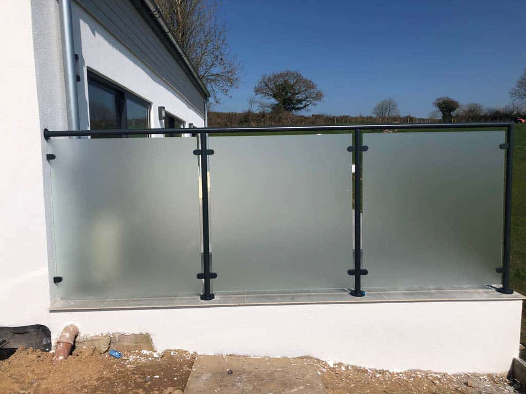 glass dividers on a patio