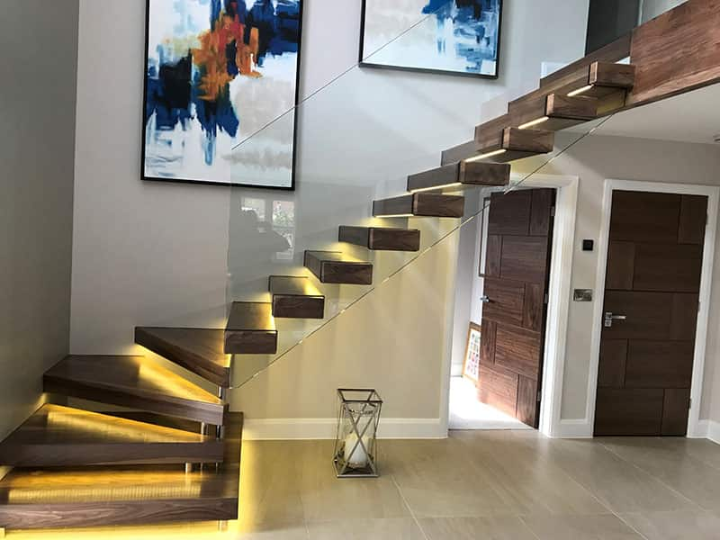 staircase with glass dividers